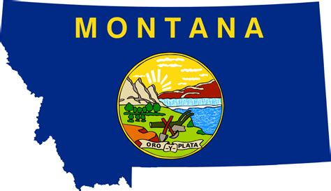 Flag of Montana with outline of the state